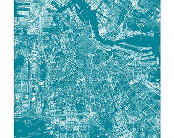 Amsterdam Cityscape / Netherlands Art Print Abstract Aerial Map / 8x10 Poster / Choose your color