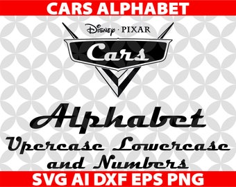 Cars Letters SVG, Eps Ai Dxf Png Monogran Silhouete Cricut Clipart Decal