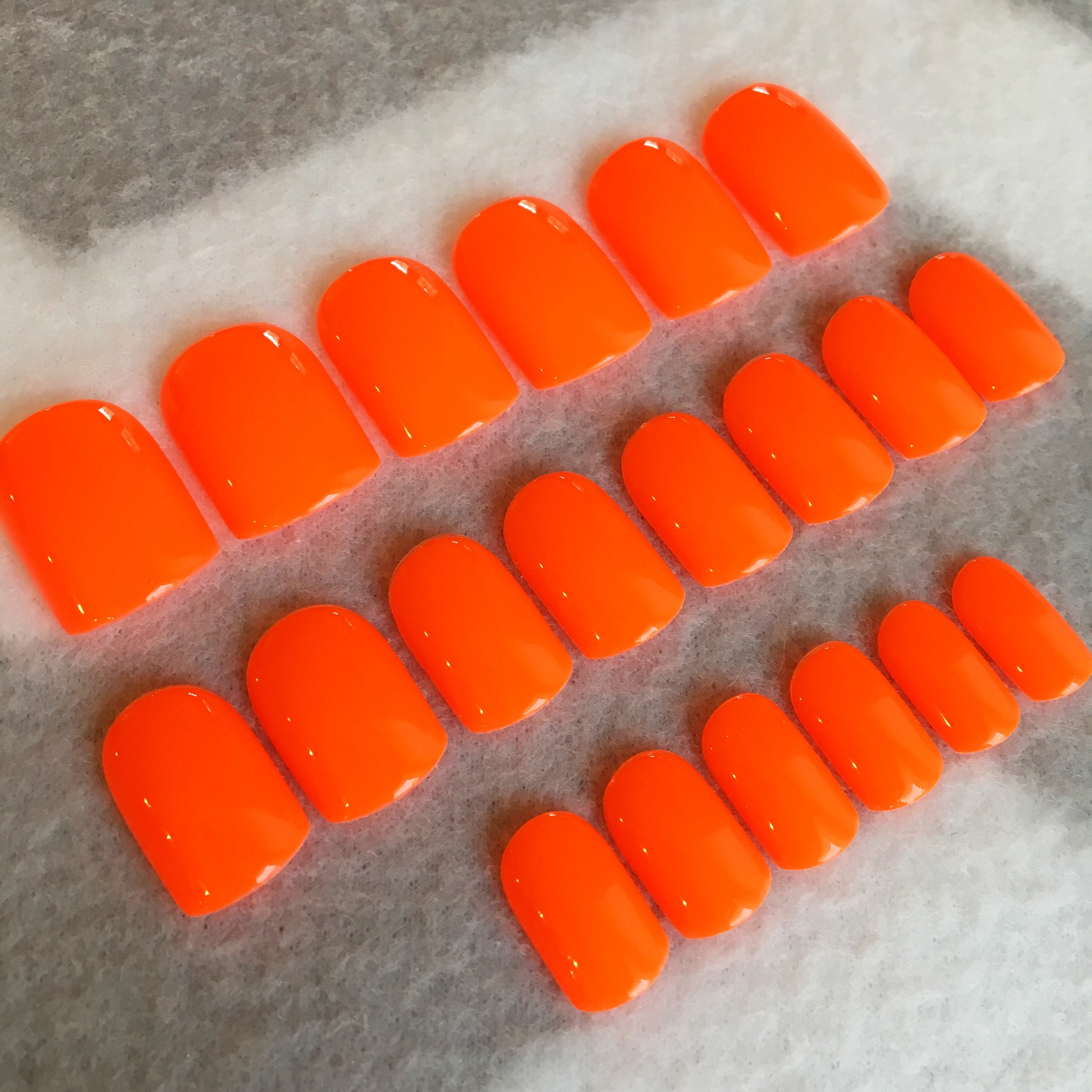 Neon Orange-Red Faux Nails * Fake Nails * Glue On Nails * Squoval ...