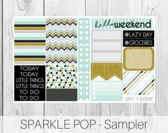 Sparkle Pop Sampler || Planner Stickers || Happy Planner || Erin Condren