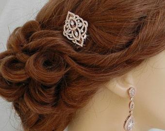 Rose Gold Hair comb, Rose Gold Bridal Hair clip, Yellow Gold, Swarovski crystal Silver hair comb, Rhinestone hair comb, MacKenzie Hair Comb
