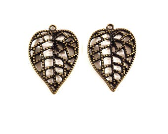 Set of 2 charms beaded brass leaves (Ref.63)