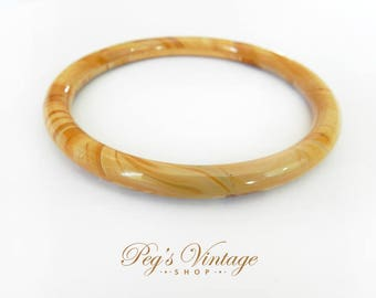 Vintage Butterscotch Glass Tube Bangle, Thin Stacking Bracelet