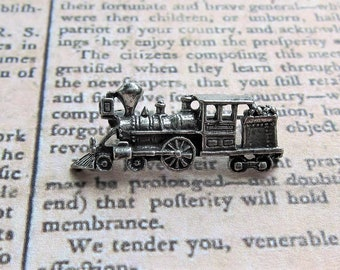 Sterling Silver Locomotive Steam Engine Train Pin