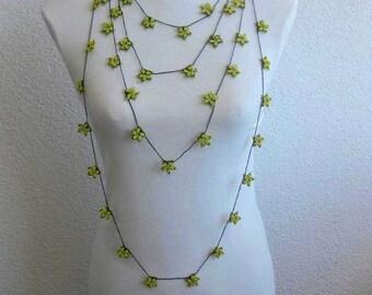 Crochet lariat scarf with Beads in Black, Yellow, Necklace, Harvest, Feminine, OOAK, Unique, Seastar