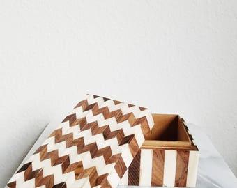 Cream and Honey Brown Chevron Inlaid Wood and Bone Box with Top