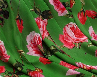 16 m/m, Green silk with red rose, Digital printing silk fabric, silk crepe fabric, wedding fabric, by the yard-FSMIL- 114 cm Wide