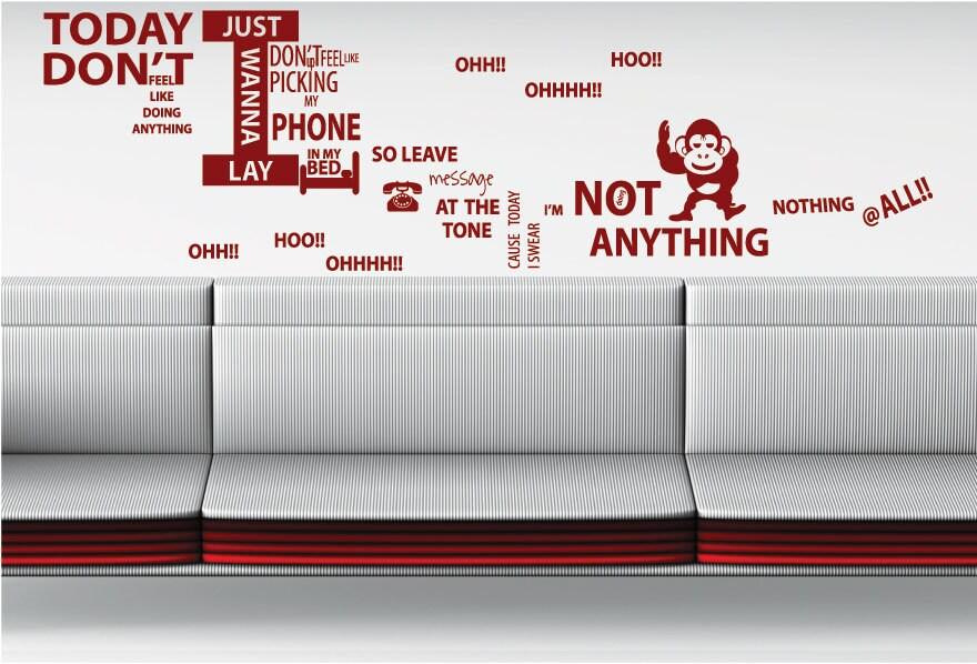 Bruno Mars Lazy Song LYRICS Wall Quotes Wall Art / Wall
