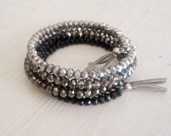 Smokey Ombre Glass Crystal Wrap Bracelet
