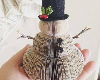 Ornmament~mini book page snowman/Book club/Gift Exchange/Christmas ornaments