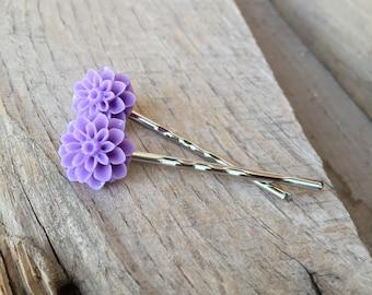 Sweet lilac Chrysanthemum bobby pin set, pastel purple mums, flowers, floral, hairpin, garden nature lover