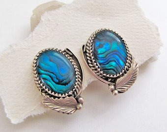 Blue Paua Shell Earrings, Sterling Silver Earrings, Vintage Southwestern Jewelry, Clip On Earrings, Blue Earrings, Paua Shell Jewelry