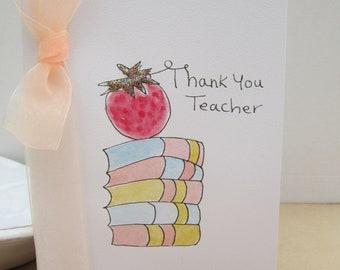 Teacher Thank you, watercolour card, thank you teacher, hand painted card, thank you card, thank you gift, teacher card, graduation thanks
