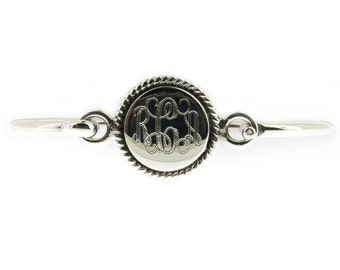 "Monogrammed .925 Sterling Silver Rope Edge Personalized Bracelet Adult Size 7"" inches"