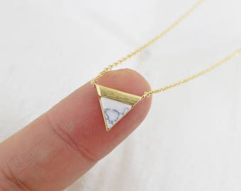 Dainty Necklace, Howlite White Marble Stone Gold Triangle Charm Necklace, Minimalist Necklace, Bridesmaid Gift, Birthday Gift,7040