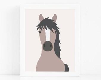 Horse Wall Art, Nursery Art, Kids Printable Wall Art, Farmhouse Nursery Decor, Horse Print, Digital Download Art, Baby Gift, Nursery Print