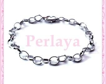 5 REF387 dark silver metal chain bracelets