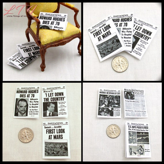 Miniature NY DAILY NEW Newspaper Dollhouse 1:12 Scale Set of 3 Newspapers 1970's Nixon, Mars, Howard Hughes