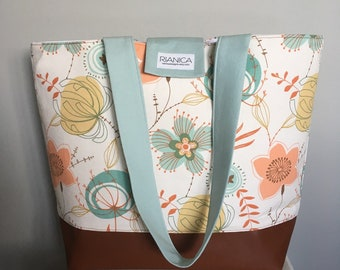 Flower Print and Faux Leather Tote Diaper Bag