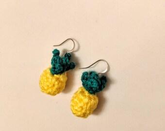Pineapple Earrings - pineapple party - pineapple stud earrings - pineapple jewelry - summer jewelry - tropical - yellow jewelry crochet