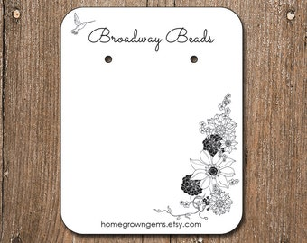 Hummingbird with Flowers Earring Cards Personalized Customized Jewelry Display Cards | 00203