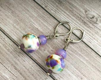 Purple, green white glass lampwork earrings - silver artisan glass earrings - christmas gift for here - Floral murano Earrings - Women Gift