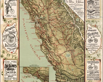 Poster, Many Sizes Available; Bicycle Road Map Of California 1895
