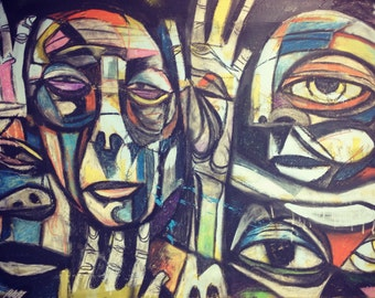 large abstract painting graffiti picasso cubism
