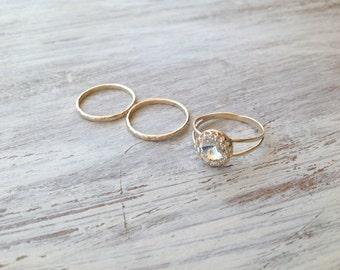 SET OF 3 RINGS - Gold ring, 3 stacking ring, vintage ring, gold rings, clear crystal ring, stack gold ring