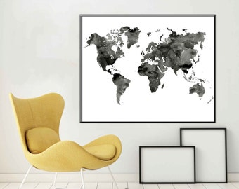 Black and White World Map Monochrome Art World Map Art  World map Wall Art Black and white Map Poster Black and white Large World Map