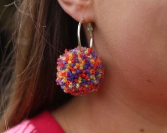 Pom Pom Hooped Earrings