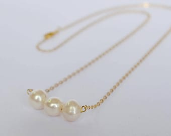 Triple Pearl Necklace - 3 Pearl Necklace - White Freshwater Pearl Gold Necklace -Mother of the Bride - Mother Gift - Bridesmaid jewelry