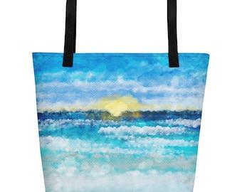 Watercolor Sunset Beach Bag
