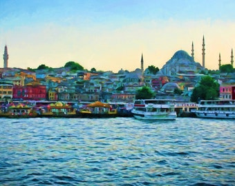Istanbul Art, Eminonu Waterfront, Boats on Water, Colorful Boats, Istanbul, Turkey, Colorful Harbor, Constantinople, Istanbul Painting