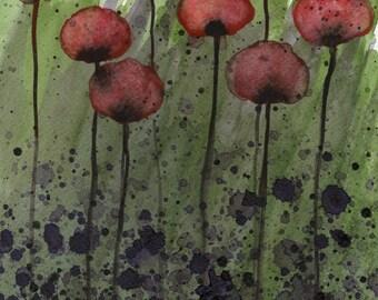 Watercolor Painting: Watercolor Flower Painting -- Art Print --  Overwhelmed  -- Dark Red Flowers -- 11x14