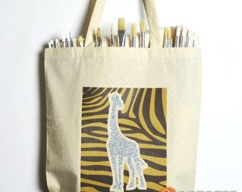 Giraffe Tote bag / Custom tote bags / Giraffe design tote / Shiny giraffe tote bag / Animal tote bags / Animal Print Tote bags / Custom bags