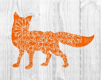 Fox Mandala SVG, Fox DXF, png, jpg, eps, Fox SVG, Digital Download File, Fox Floral, Fox, Cricut, Silhouette, Cut File, Vinyl Decal, Unique