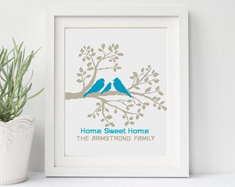 Modern Cross Stitch Pattern Family Tree Chart Personalized Wedding cross stitch Birds Love Home Sweet Home Counted cross stitch PDF instant