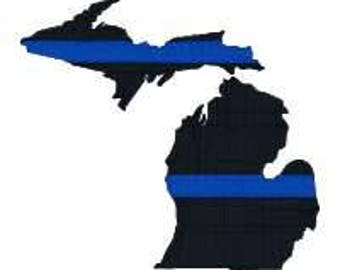 "BUY 2 GET 1 FREE - Michigan Thin Blue Line Machine Embroidery Design in 4 Sizes, 2"", 3"", 4"", 5"""
