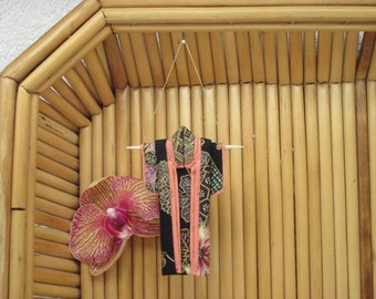 "3"" Ornament. ""Black Noshi, Salmon."" Fabric Origami Kimono: Japanese Chrysanthemums, Elegant Earth Tones. Hang it, Frame it, Give it."