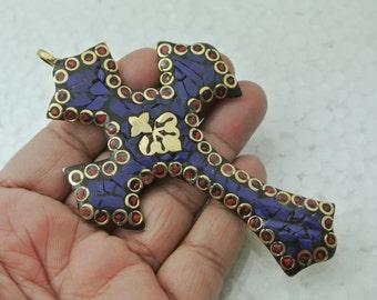 "Tibetan Brass n Lapis Cross Pendant 4.5"" x 2.5"" Handmade Cross Pendant, Lapis Inlay Cross Pendant, Jewelry Making, Focal Pendant"