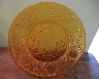 Amber 12 inch Indiana Glass Serving Platter 1970's