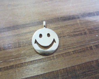 14k Yellow Gold Smiley Face Charm, Gold Charms, Face Charm, Round Charm
