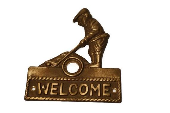 Brass Door Plate, Door Hardware, Antique Brass, Golfer, Door Bell Plate,  Escutcheon, Salvaged, Home Restoration, Restoration Hardware, ... - Brass Door Plate, Door Hardware, Antique Brass, Golfer, Door Bell