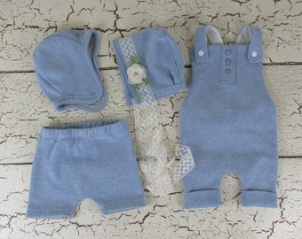 4 piece boy/girl twinset in powder blue - handmade newborn photography prop