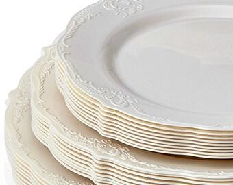 Vintage Style Modern Elegance Party Plates Ivory Disposable Plates Elegant Wedding Dinner Plates & Plastic plates | Etsy