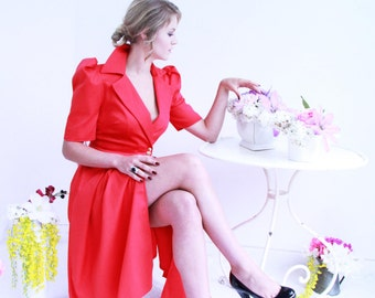 midi red dress / wrap dress, tuxedo dress, dress with pockets, jacket dress, short sleeves dress, puff sleeve dress, tuxedo women