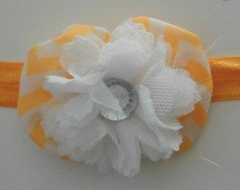 Tangerine and White Flower/Bow Headband