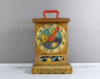 1964 Vintage Music box and Teaching Clock by Fisher Price  - Learn to tell time with Fisher Price - Fisher price #998 -Musical Wind Up