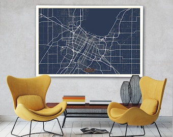 Green bay map poster Etsy